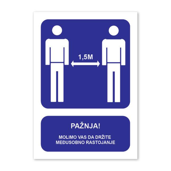 tabla drzite socijalnu distancu 1.5m